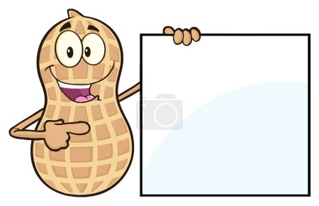 Illustration for Sausage Cartoon Character Pointing To Blank Sign. Illustration Isolated On White - Royalty Free Image