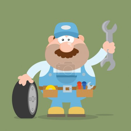 Smiling Mechanic Cartoon Character
