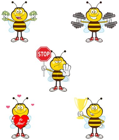 Bee Cartoon Mascot Character