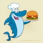 Chef Blue Shark Cartoon Mascot Character Holding B...
