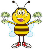 Happy Bee Cartoon Mascot Character With Cash Raster Illustration Isolated On White