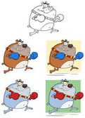 Bulldogs Cartoon Character In Different Poses Raster Collection Set