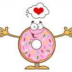 Happy  Donut Cartoon Character.Illustration Isolat...
