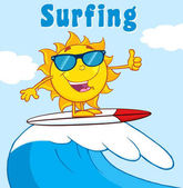 Surfer Sun Cartoon Mascot Character With Sunglasses Riding A Wave And Showing Thumb Up Vector Illustration With Background And Text Surfing