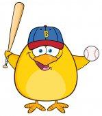Baseball Yellow Chick Cartoon Character