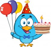 Happy Blue Bird Cartoon Character Holding Up A Birthday Cake Vector Illustration Isolated On White