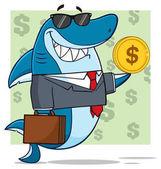 Žralok kreslený maskot
