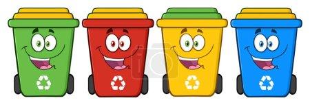 Recycle Bins Cartoon Characters