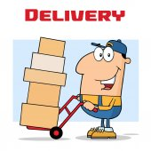 Delivery Man Cartoon Character Using A Dolly To Move Boxes Vector Illustration With Isolated On White