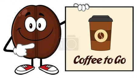 Illustration for Smiling Coffee Bean Cartoon Mascot Character Pointing To Sign Coffe To Go. Vector Illustration Isolated On White - Royalty Free Image