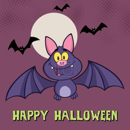 Illustration for Happy Vampire Bat Cartoon Character Flying. Vector Illustration - Royalty Free Image