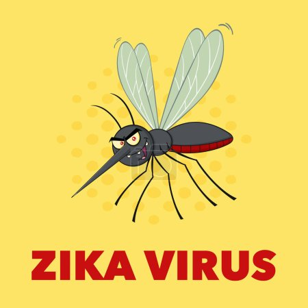 Illustration for Mosquito Cartoon Character Flying. Vector Illustration With Background With Text Zika Virus - Royalty Free Image