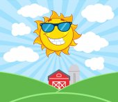Smiling Sun Mascot Cartoon Character