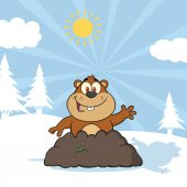 Happy Marmot Cartoon Character Waving In Groundhog Day Raster Illustration With Background