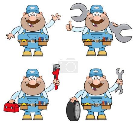 Cartoon Illustration Of Mechanic