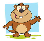 Smiling Marmot Cartoon Character Waving Vector Illustration Isolated On White