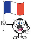 Happy Soccer Ball Cartoon Mascot Character Holding A Flag Of France Illustration Isolated On White Background