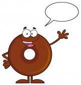 Happy  Donut Cartoon Character.