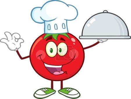 Illustration pour Mascotte de Chef Tomate Cartoon Character Holding Cloche Platter. Illustration raster isolé sur blanc - image libre de droit