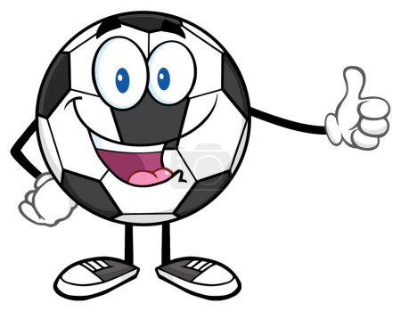 Cute Soccer Ball Cartoon Mascot