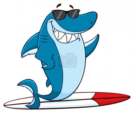 Smiling Blue Shark Cartoon Mascot Character With S...