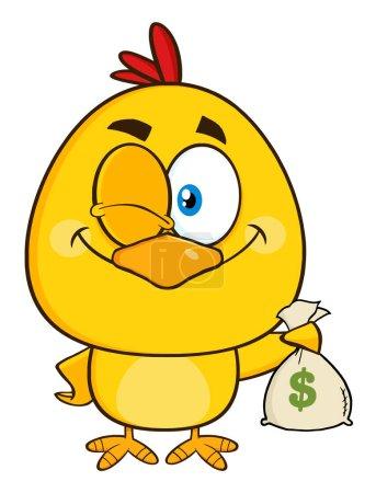 Yellow Chick Cartoon Character Holding