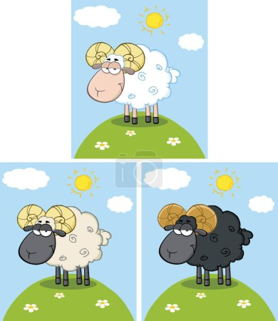Illustration for Black And White Sheep Cartoon Character. Raster Collection Set - Royalty Free Image