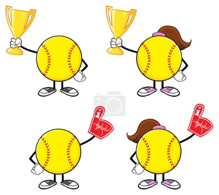 Softball Faceless Girl Player Cartoon