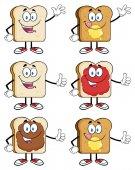Chléb Slice kreslený maskot postavy