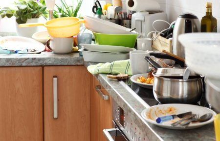 Photo for Pile of dirty dishes in the kitchen - Compulsive Hoarding Syndrom - Royalty Free Image