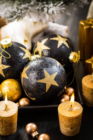 Christmas balls with candles