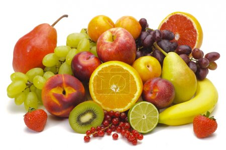 Photo for Plate with mixed fruits over white background - Royalty Free Image