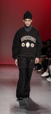 Photo for New York, NY, USA - February 6, 2018: A model walking runway for Feng Chen Wang Fall/Winter 2018 runway show during NY Fashion week: Mens at Pier 59 Studios, Manhattan - Royalty Free Image