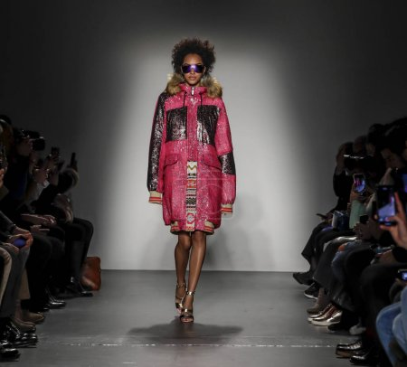 Photo for New York, USA - February 10, 2018: A model walks runway for the Custo Barcelona Fall/Winter 2018 runway show during New York Fashion Week at Pier 59 Studios at Chelsea Piers, Manhattan - Royalty Free Image