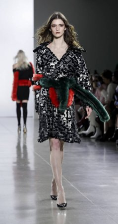 Photo for New York, USA - February 13, 2018: A model walks runway for Vivienne Hu Fall/Winter 2018 runway show during NY Fashion Week at Spring Studios, Manhattan - Royalty Free Image