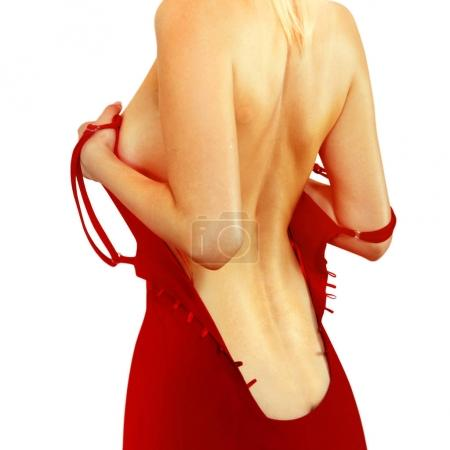 back of woman in red dress  l
