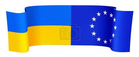 Photo pour Illustration de l'Ua et l'UE drapeaux sur fond blanc - image libre de droit