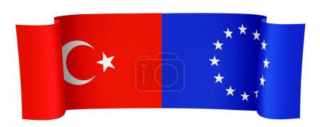 Illustration of the Turkey and EU flags on white b...