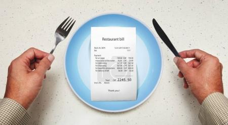 bill on empty plate for visitor
