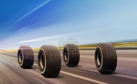 wheels moving on road