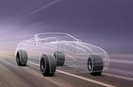 3D illustration of sport car