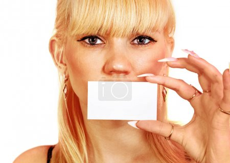 woman shows the business card