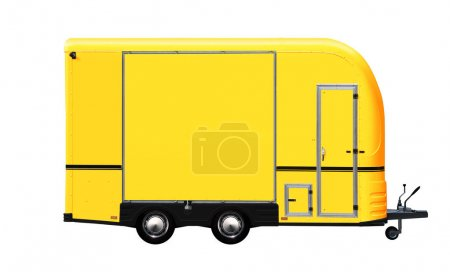 3D illustration of yellow food truck