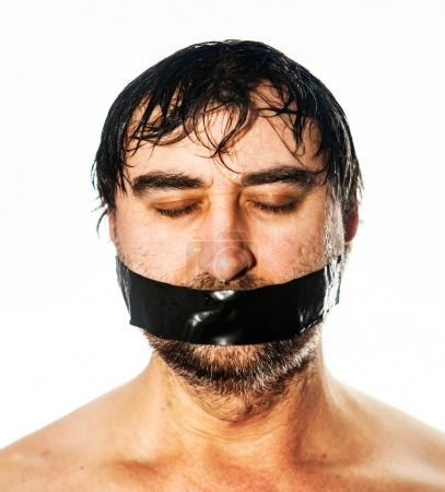 man with black tape