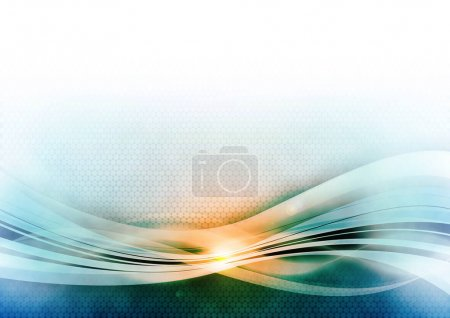 Photo for Raster blue background with light shiny waves. - Royalty Free Image
