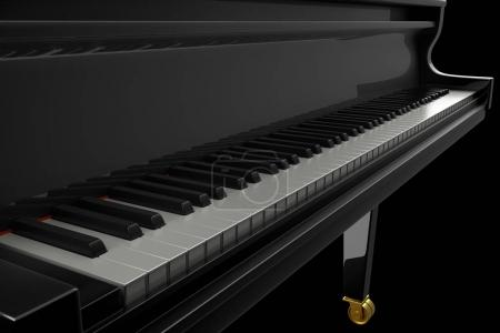 Photo for Luxury black piano in the dark scene. 3D render illustration. - Royalty Free Image