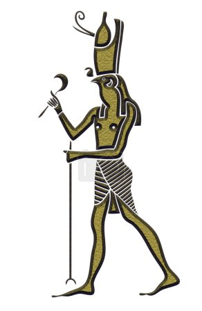 Photo pour Dieu de l'ancienne Egypte - Horus - Heru - le Dieu à tête de faucon - est l'une des plus anciennes et plus importantes des divinités dans la religion égyptienne antique. Horus a servi de nombreuses fonctions dans le Panthéon égyptien, plus connu étant le Dieu du ciel et g - image libre de droit