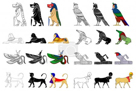 Various creatures of the ancient Egypt isolated on...