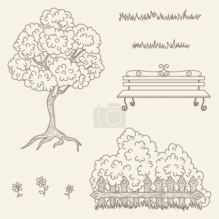 Hand drawn outline vector street/garden objects