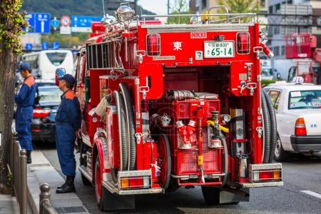 Japanese Fire Department car on the street of Kyoto in Japan
